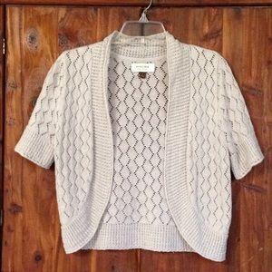 Sonoma Crochet Tan Open-Front Shrug Vest | S